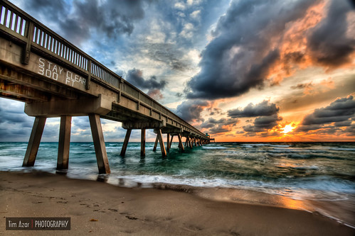 ocean green beach water clouds sunrise landscape pier sand waves florida cloudy shoreline nd deerfieldbeach hdr fishingpier turqoise dfine neutraldensity 3exposures photomatixpro4 timazar