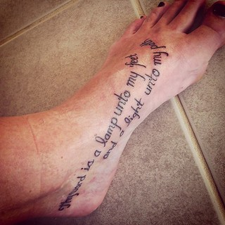 {New tattoo!} Thy word is a lamp unto to my feet & a light unto my path. Psalm 119:1105 | by megstiffler