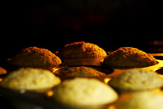 Banana & Coconut Muffins in the oven