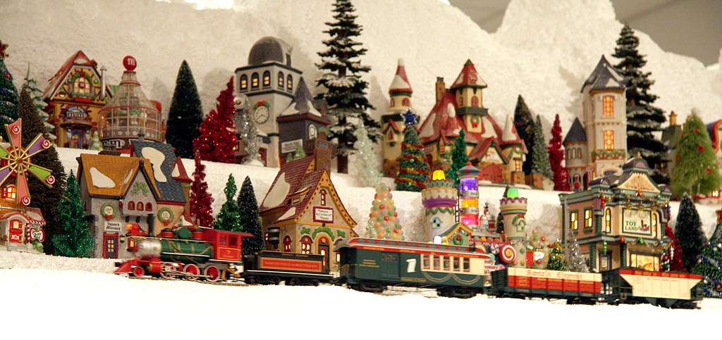 Miniature Christmas Village.A Train Passing On Christmas Village Mountain Miniature E