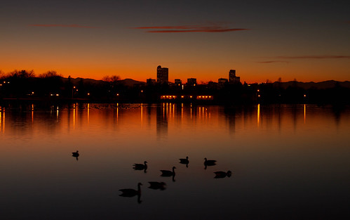sunset lake reflections landscape evening colorado cityscape denver citypark