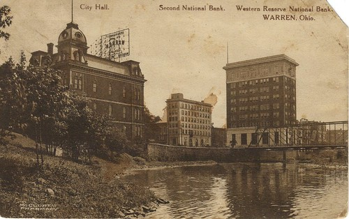 old city bridge ohio river hall view postcard reserve bank national western second oh warren 1910s mahoning