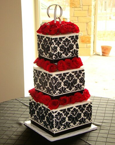 damask buttercream wedding cake | by SweetTreetsBakery