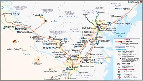 MTA Maryland/MARC commuter railroad Map