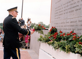 1994 - Jim Placing Roses on the Eisenhower Monument