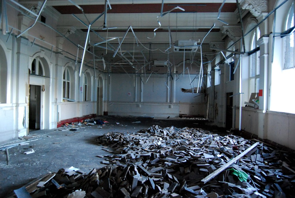 Pudsey Grangefield School-6, Ripped up | The wooden parquet … | Flickr