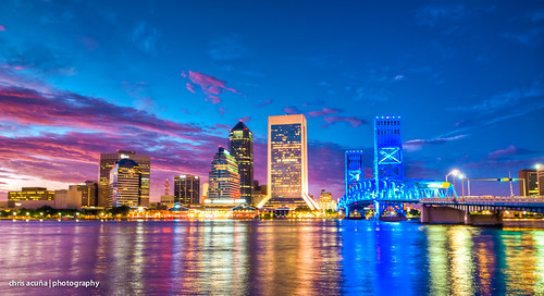 street city travel bridge blue sunset sky color reflection fall water skyline clouds river photography lights nikon downtown cityscape florida jacksonville bluehour hdr highdynamicrange goodtimes d300 2011 chrisacuña