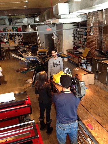 "The CBC was in our shop today! Interview for a new doc coming out called ""100% Tshirt"" playing at Cinema Du Parc. Check us out at 5, 6, and 11pm on the CBC! 