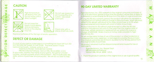 "TIGER ELECTRONICS :: ""TEENAGE MUTANT NINJA TURTLES: DIMENSION-X ASSAULT"" 'TALKING' ELECTRONIC LCD GAME ..INSTRUCTION MANUAL  pgs. 14,15 (( 1995 )) by tOkKa"
