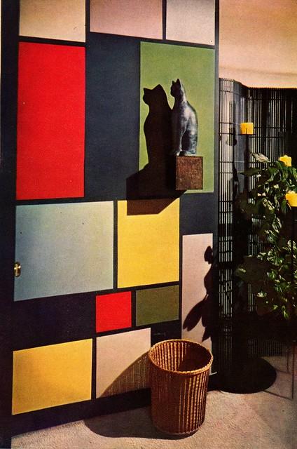 Mondrian-esque wall, DIY the Mid Century Modern style