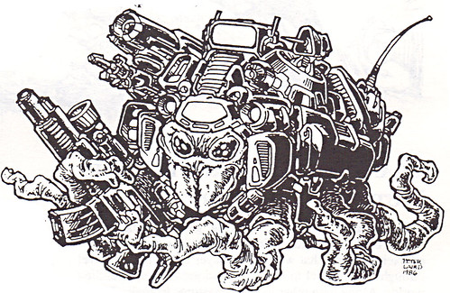 "'THE CATALOG OF PALLADIUM BOOKS 1988-89 Catalog' vii / ""Mutant Mercenary"" art by Laird isolated  (( 1988 )) by tOkKa"