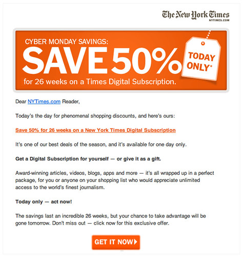 New York Times email offer | by bokardo