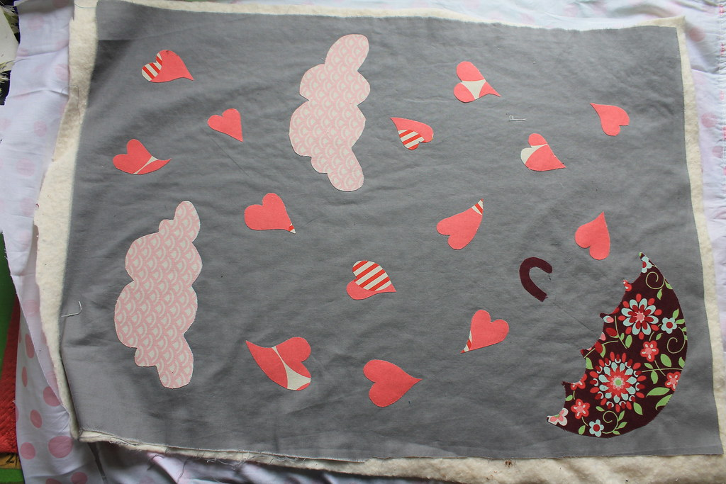 Woolies flannel rag quilt with heart appliqué sew home
