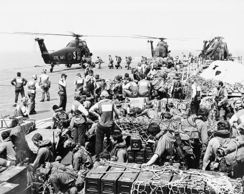 Wessex helicopters and commandos on board HMS HERMES durin