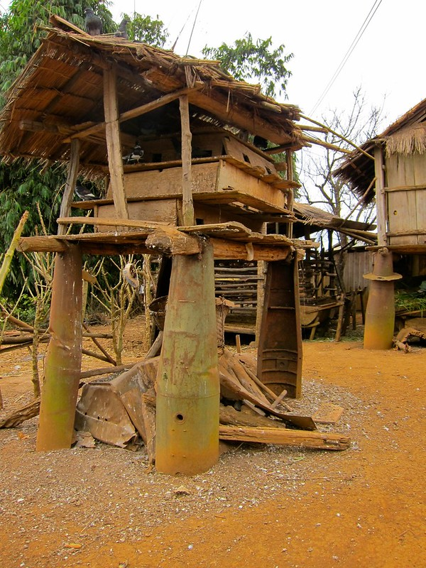 Village built using casings from US Cluster Bombs, Phonsavan, Laos