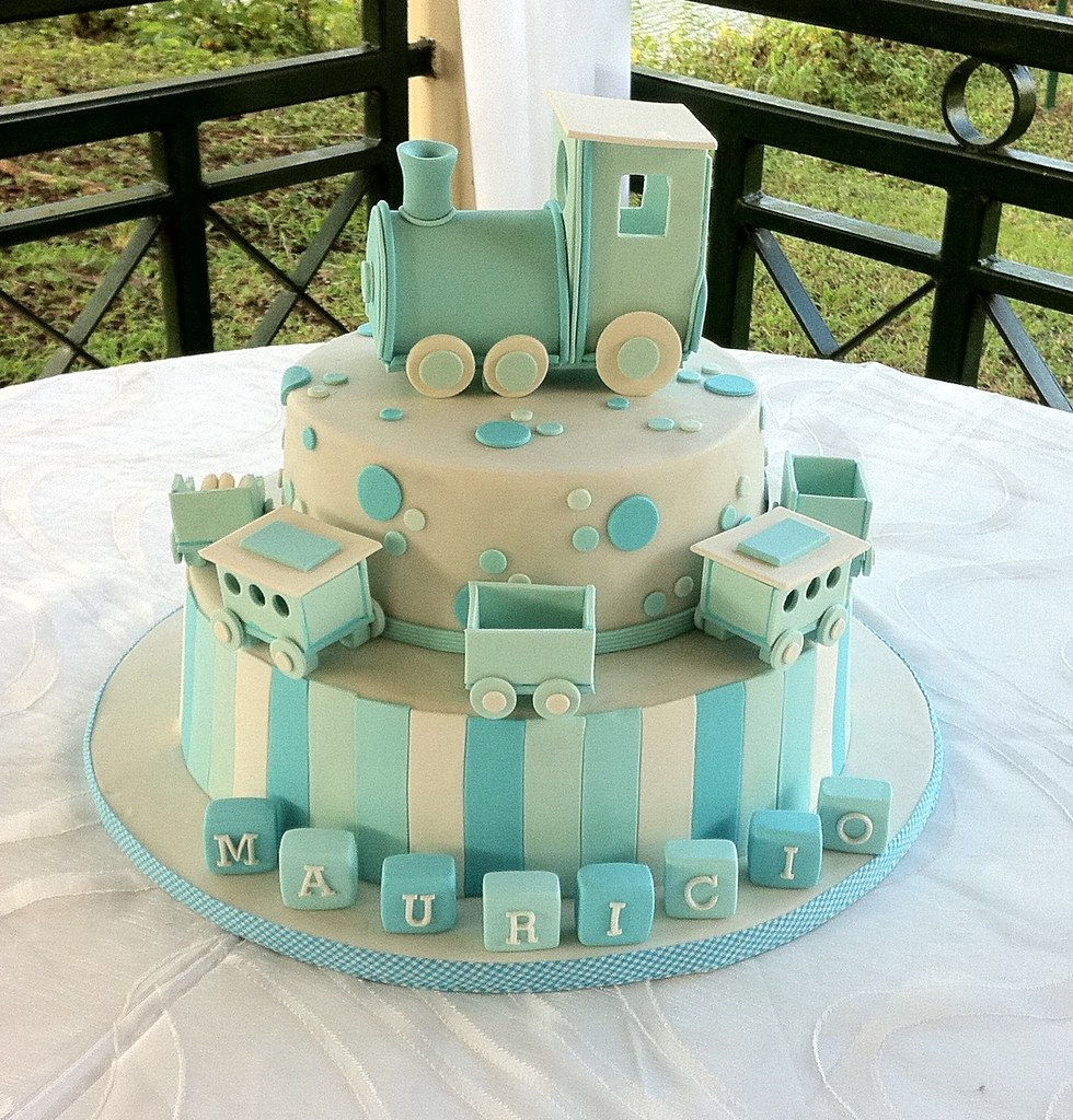 Christening Baby Boy Train Cake | To be honest, it could ...