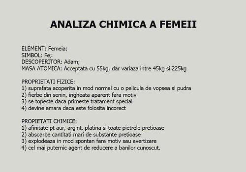 analiza chimica a femeii | by cannatimichela