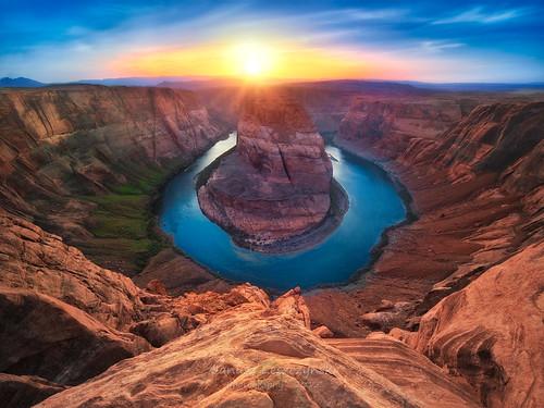 sunset arizona river us colorado bend drop canyon page meander horseshoe route89 janusz leszczynski 1224sigma vertorama kingbend darwinawardsmoment 173040feb52012
