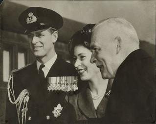Princess Elizabeth, Prince Philip and Prime Minister Louis St. Laurent, ca. 1951 / La princesse Elizabeth, le prince Philip et le premier ministre Louis St-Laurent, vers 1951