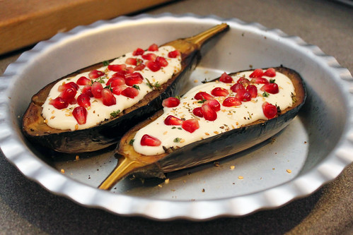 Roast Aubergine, Buttermilk sauce and Pomegranate | by Coffee Muffins