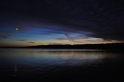 sunset moon lake reflection water clouds dusk hills vashonisland campsealth