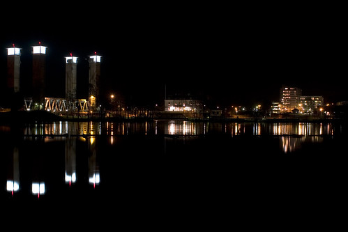 railroad bridge night train reflections four lights towers railway trollhättan götaälv