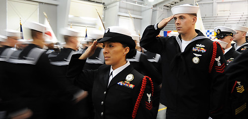 Recruit division commanders render a salute to recruits. | by Official U.S. Navy Imagery