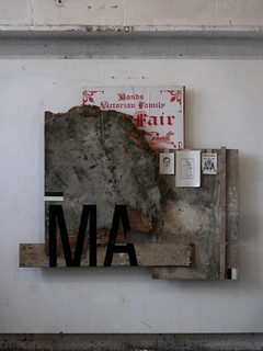 Zavier Ellis 'Black Magic', 2011 Gloss paint, pencil drawings, found wood, poster