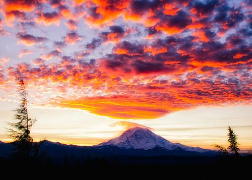usa sun mountains landscape washington cities places mountrainier subject sunrises bonneylake