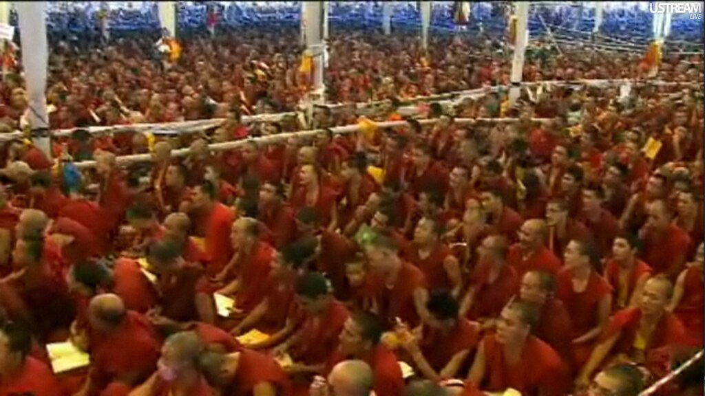 Many Tibetan Buddhist monks, listening to His Holiness the… | Flickr