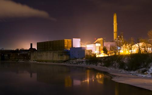 county longexposure cloud mill night river lights industrial pentax kennebec winslow kx