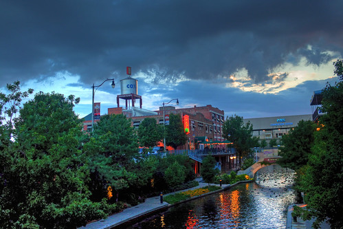 city sunset oklahoma river canal cloudy cox hdr bricktown
