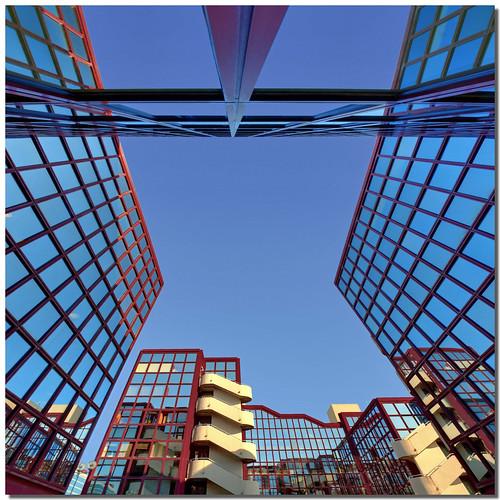 blue red rome roma lines architecture modern buildings mirror pov perspective pointofview 8mm grandangolo moderno stefano specchio palazzi prospettiva geometrie linee geometries architettuta nespyxel stefanoscarselli saariysqualitypictures sigma816