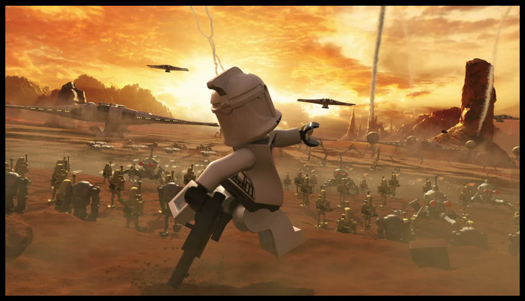 Image of a moment from the game Lego Star Wars 3