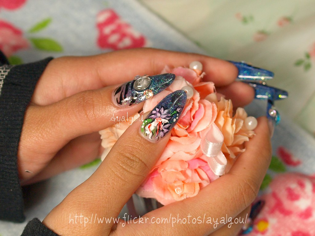 Goldfish and lotus nail art | My client Acrylic sculptured n… | Flickr