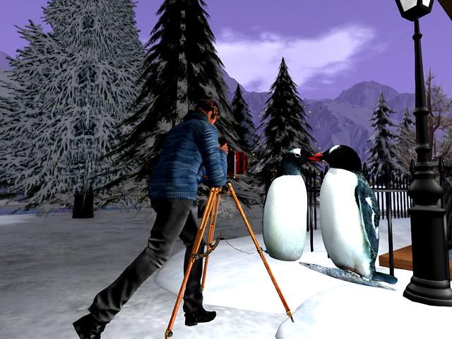 Christmas Lane - Framed Penguin Love