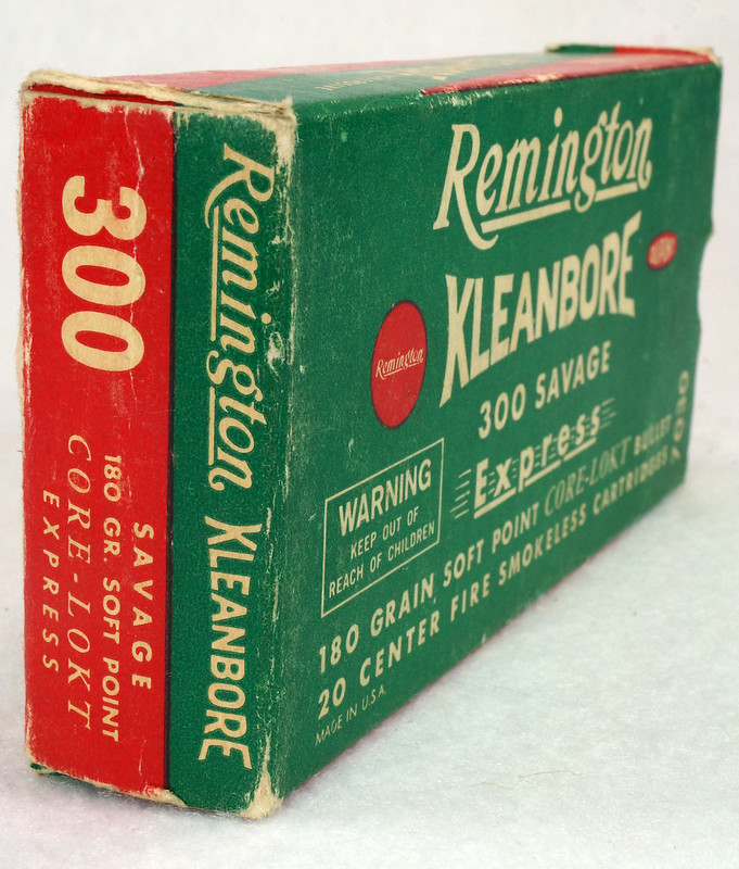 RD14570 Vintage Remington Kleanbore 300 Savage Express 180 Gr. Soft Point Ammo Box with 20 Empty Brass Casings DSC07000