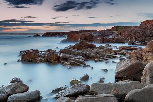 australia au newsouthwales nsw portstephens annabay birubipoint rockybay beach surf ocean rocks waves sunset longexposure leelittlestopper canoneos6d canonef1635mmf4lisusm