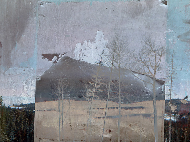 Hwy 5 snow scene with a texture layer overlaid (torn poster in Belfast)