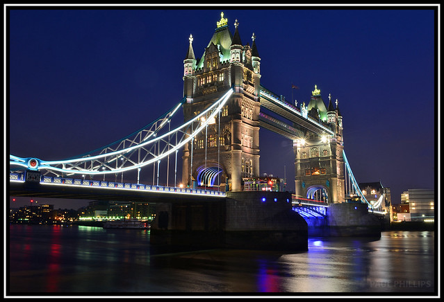 Tower Bridge at dusk, looking south.
