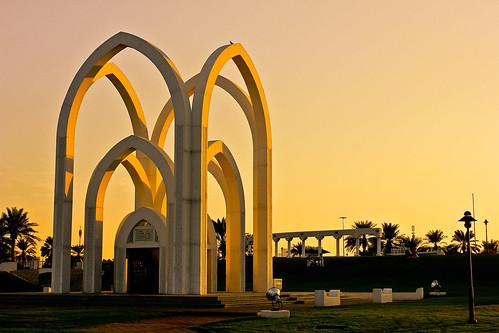 park trees light sunset sky beautiful architecture lights doha qatar faisal bida bidda