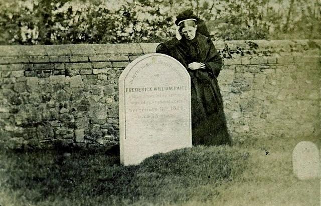 Mourner at the Grave, Albumen Carte de Visite, Circa 1874