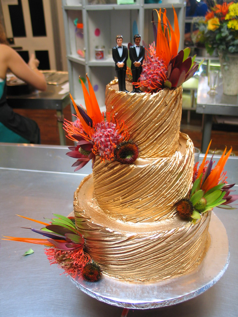 3-tier Wicked Chocolate wedding cake iced in bronze spanis… | Flickr