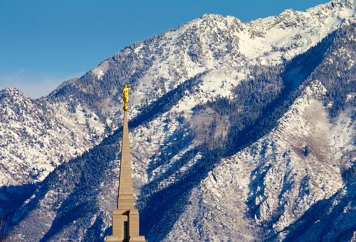 winter usa mountain temple utah ut steeple spire mormon lds daybreak 2012 moroni southjordan wasatchmountain saltlakecounty oquirrhtemple ldstemplespire