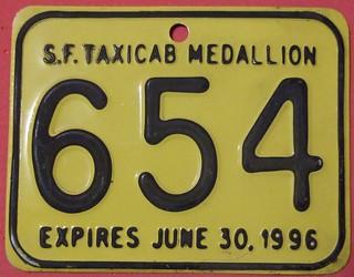 CALIFORNIA, SAN FRANCISCO 1996 ---TAXI MEDALLION SUPPLEMENTAL LICENSEPLATE