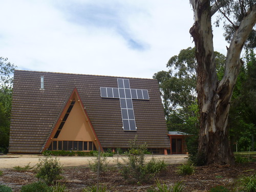 A-frame church with solar panels in cross shape | by KatieTT