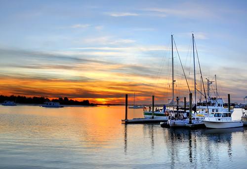 ocean sunset sky sun reflection water beautiful marina boats photography nc nikon sailing photographer creative northcarolina stunning inlet beaufort masking easternnc exposureblending