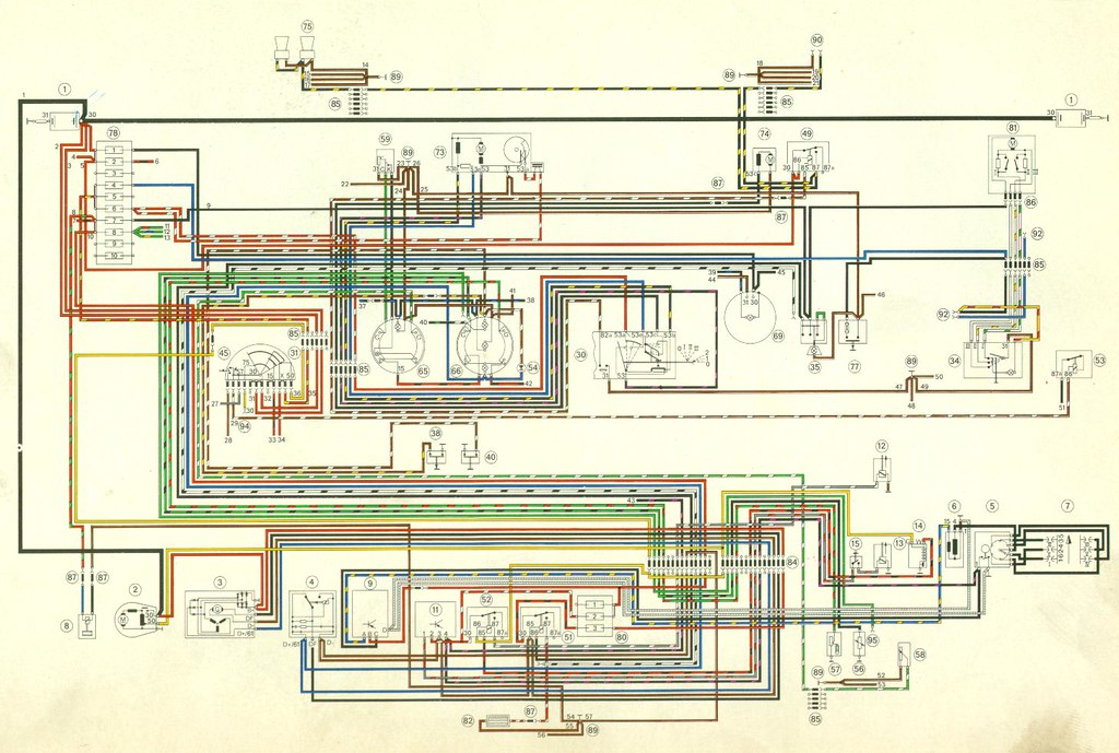 Porsche 914 1970-1971 COLOR Wiring Diagram 11x17