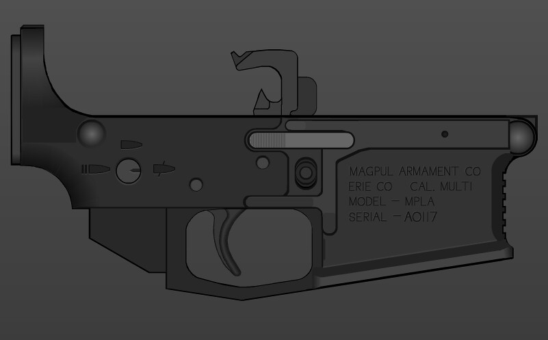 Magpul MPL-A Lower Receiver | Final product, no white shapes