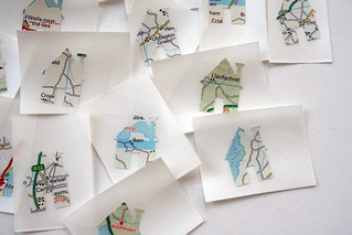 House shaped map stickers - upcycled | by Swirlyarts